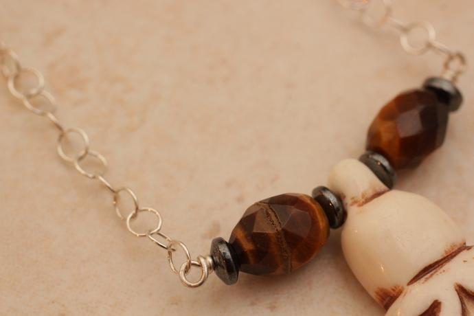 Bone mother goddess chain necklace