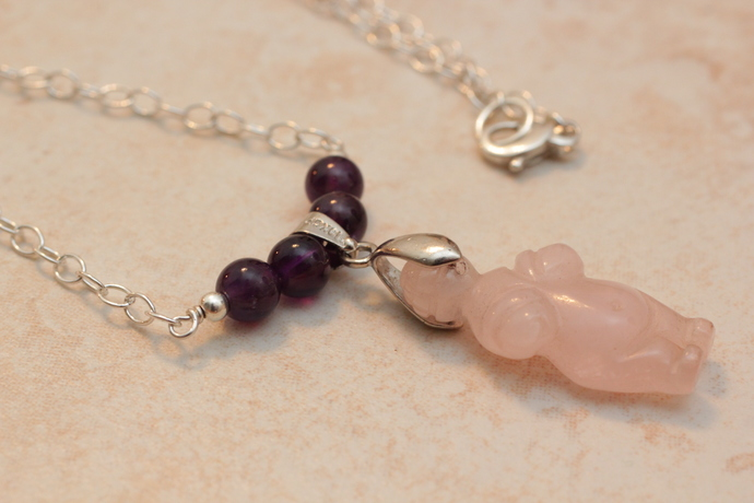 Rose quartz mother goddess chain necklace