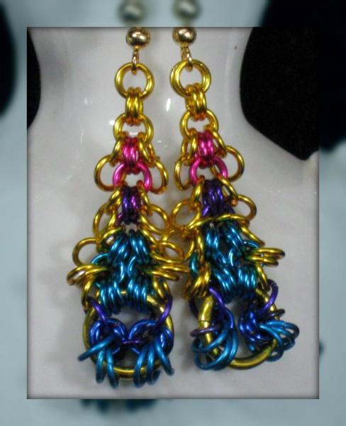 Peacock Feather Chainmaille Earrings