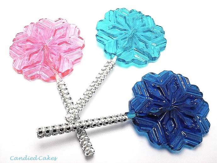 12 LARGE SNOWFLAKE LOLLIPOPS WITH BLING STICKS - FROZEN PRINCESS PARTY