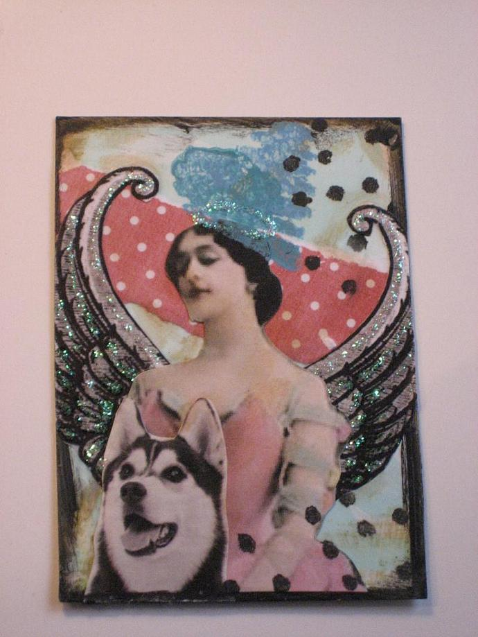 Original Collage Art ACEO Husky Angel