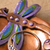 Dragonfly ring bowl in purple, blue, and bronze
