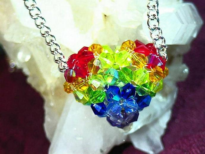 Full of Love beaded celestial crystal heart necklace- After the Storm- Rainbow