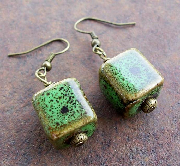 Ceramic Cubes Teal Green and  Brown Earrings