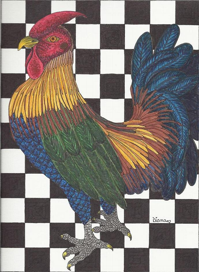 Rooster drawing-matted print