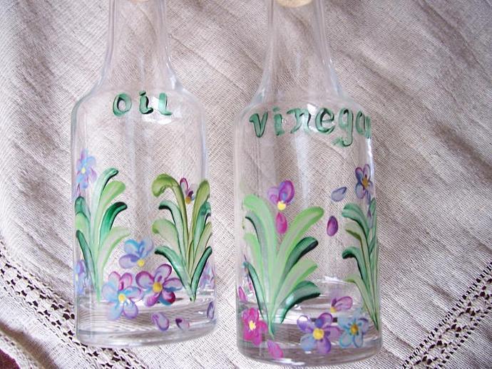 Floral Oil and Vinegar Cruet Set
