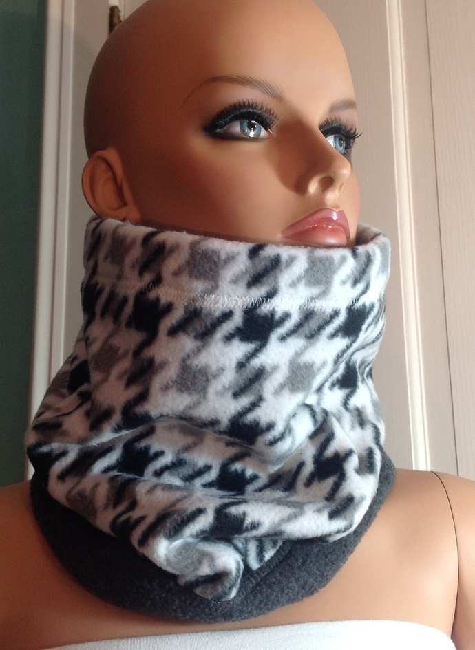 Neck Warmer. Gray and charcoal gray. Reversible. Scarf Ski neck gaiter. Ski