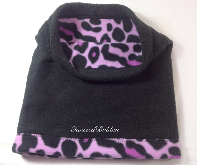Neck Warmer. Purple and black. Reversible. Scarf Ski neck gaiter. Ski gift.