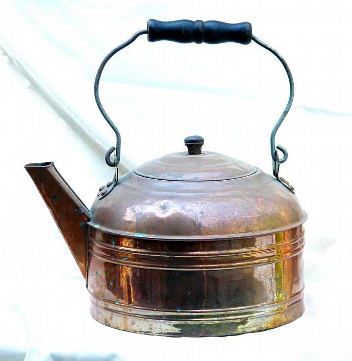 Farmhouse Copper Tea Kettle Great Patina