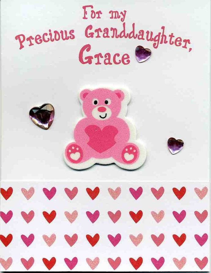 Personalized Valentine Card with Bear by Kards by Kaylee on Zibbet – Granddaughter Valentine Card