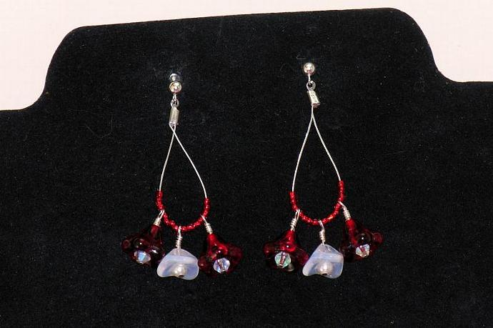 Teardrop Hoop Earrings with Red and White Flowers and Pearls
