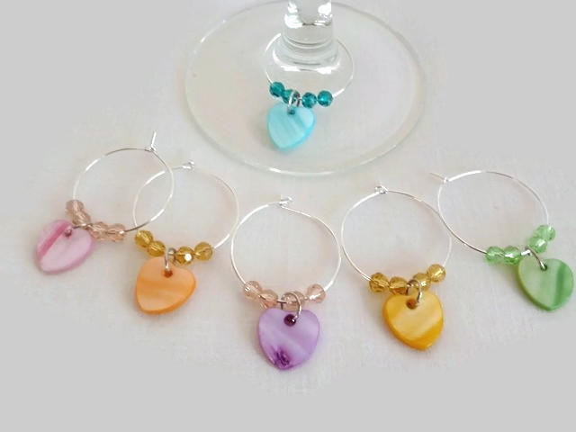 Wine Glass Charms with Hearts, c, Hostess Gift