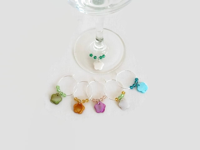 Wine Glass Charms with Flowers, Hostess Gift, Beaded Glass Charms, Wine Gift