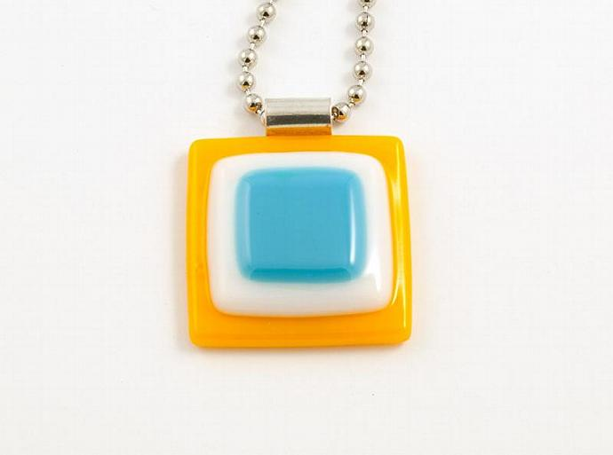 Fused Glass Pendant in Orange White and Blue