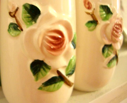 Vintage Salt and Pepper Shakers Shabby Pink Roses