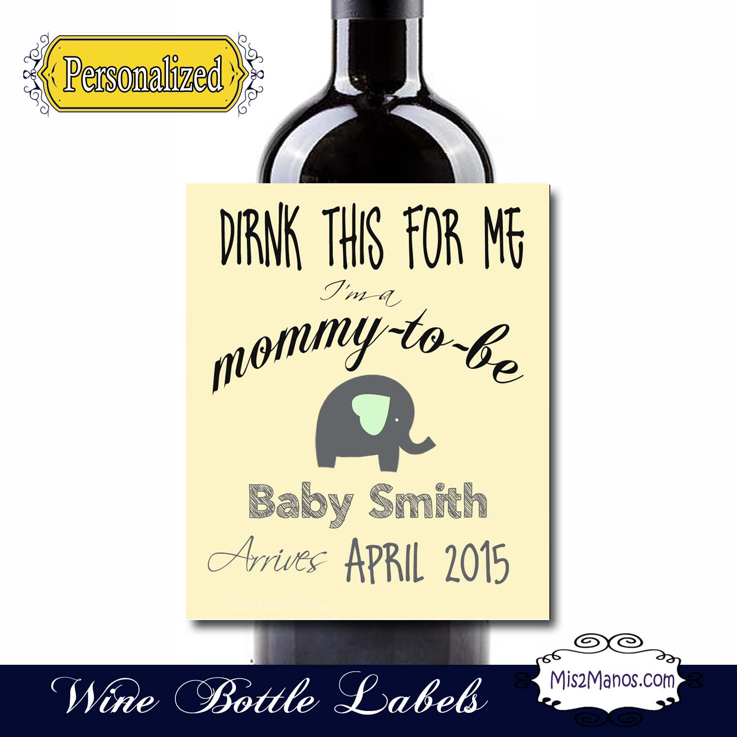 Personalised Keep Calm And Drink Wine Bottle Label Labels: Pregnancy Announcement Wine Labels