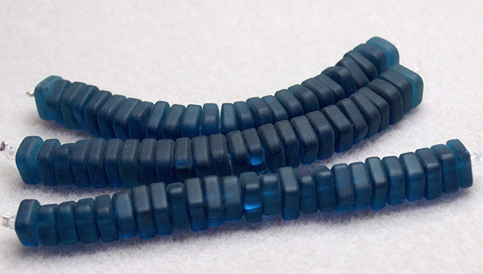 Teal Square Sea Glass Spacer Beads- recycled sea glass beads