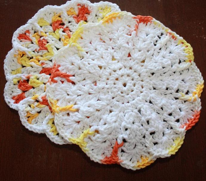 Set of Two Crocheted Dishcloths - Round - Orange and White