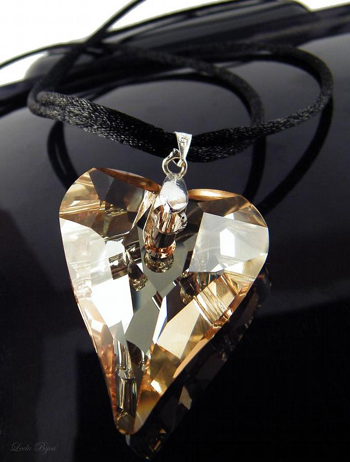 Caramel Heart Black Lace - Swarovski Crystal Silk