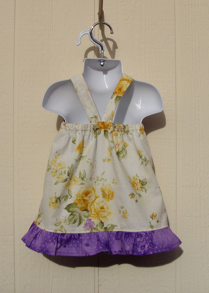 Yellow Roses with Purple Knot Dress Size 6 Months