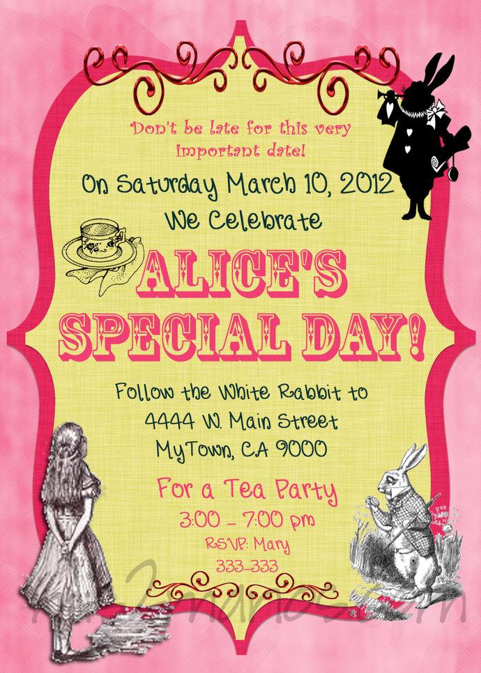 Tea Party Invitations  DIY Custom Printable Birthday Alice in Wonderland