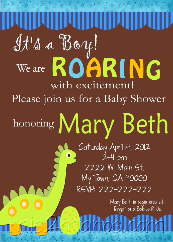 Dino Baby Shower Invitations Printable One Hour Printable Photo Dino Print at