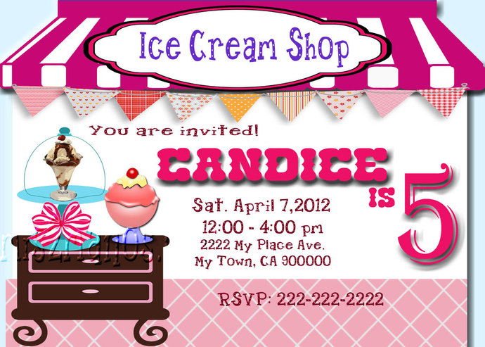 Ice Cream Invites- Ice Cream Party-  Birthday Invitation- Print At Home- Pink