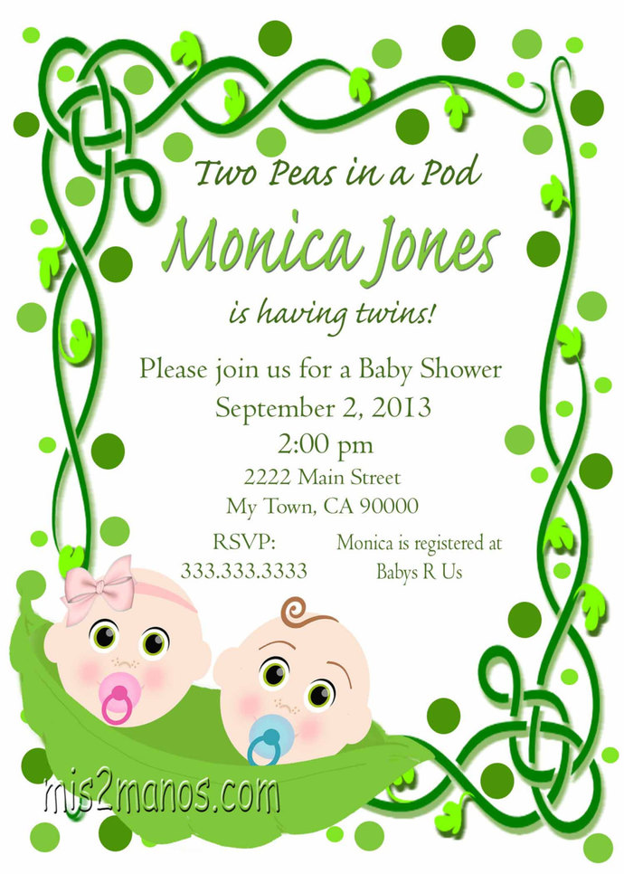 two peas in a pod twins baby shower printable invitation print at home