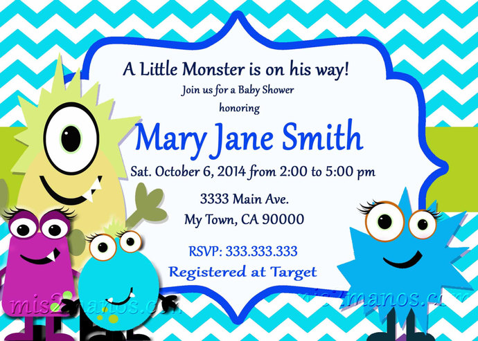 monster baby shower invites little monster  mismanos, Baby shower
