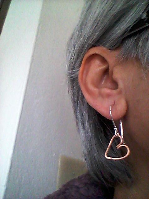 Tiny copper heart earrings with silver ear hooks, copper heart, earrings,