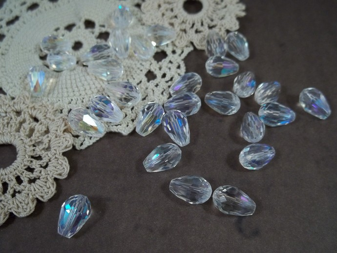 8x12mm Faceted Glass Teardrop Beads - Clear AB
