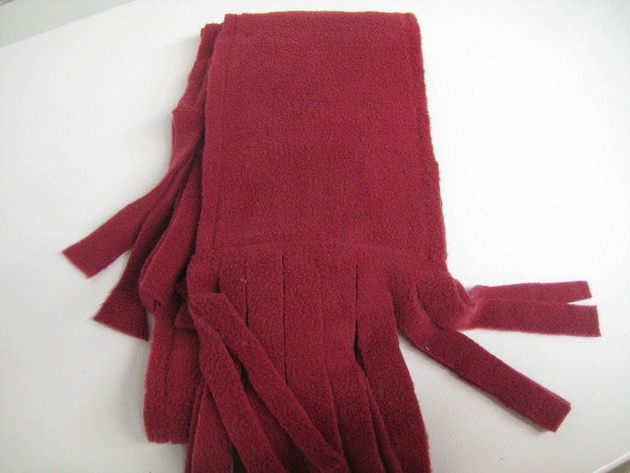 Cupcake Scarf - Warm Fleece with Fringe - Red Background