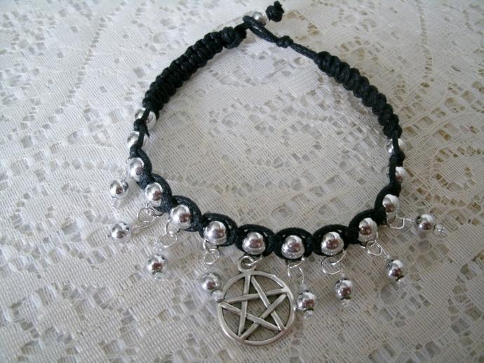Black Cord Bracelet, wiccan jewelry pagan jewelry wicca jewelry witch witchcraft