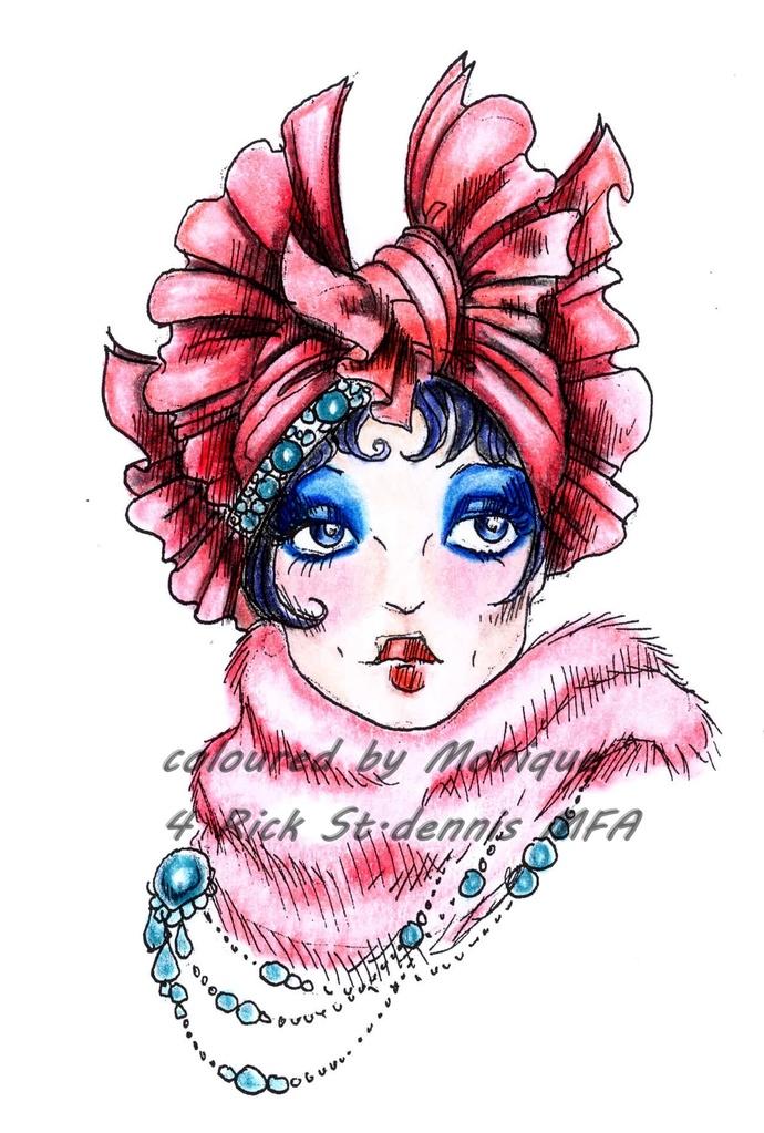 DEBORAH hat lady digital stamp
