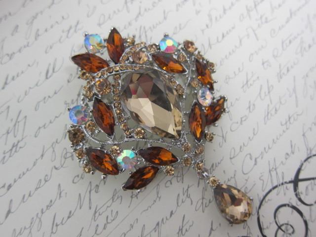 Crystal Diamante Pin Brooch - 1pc Brown/Silver