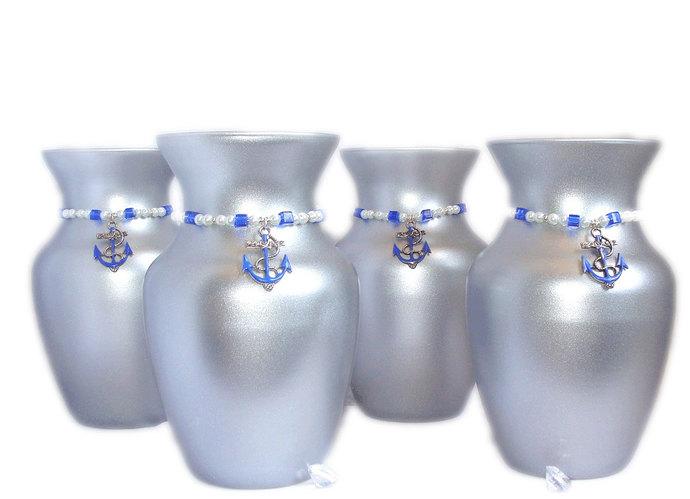 Anchor centerpiece silver anchor centerpiece centertwine for Blue and silver bathroom decor