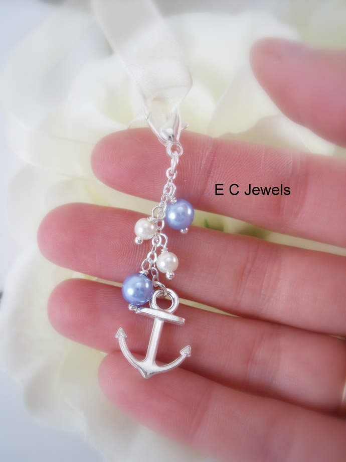 Anchor Bridal Bouquet Charm- Something Blue