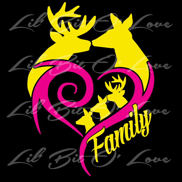 COLOR CUSTOM VINYL DEER WITH FAMILY VEHICLE LilBitOLove - Couple custom vinyl decals for car