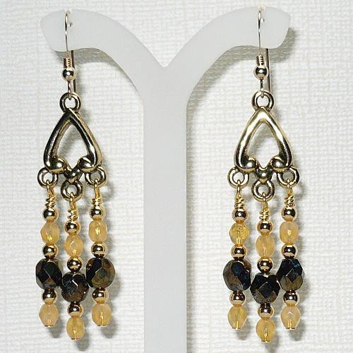 Gold Chandelier Earrings with Indian Yellow Opal Crystals