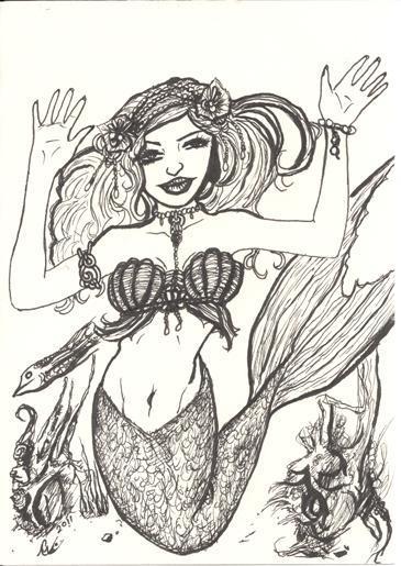 Mermaid Princess, small ink drawing, originals
