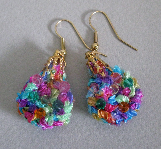 Colorful Fiber Dangle Earrings