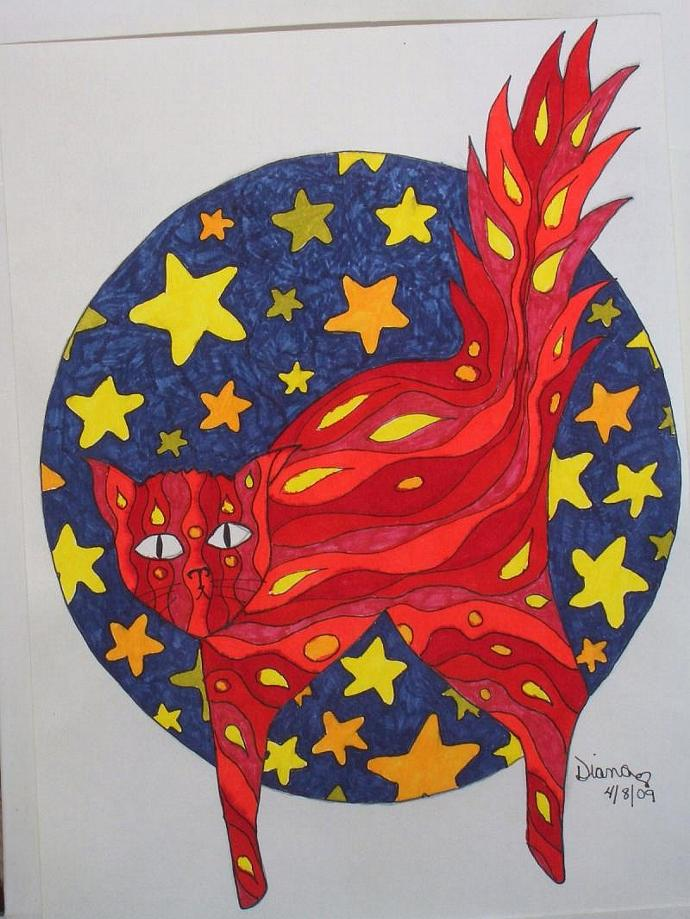 Cats (Flaming Stars) - matted print