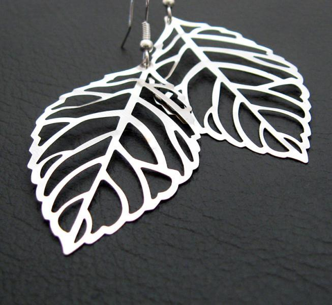 Winter Leaf earrings: silver skeleton leaves on sterling silver plated ear-hooks