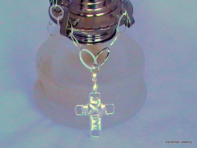 Sterling Silver Oval Link Chain with Silver wire wrapped Cross Necklace