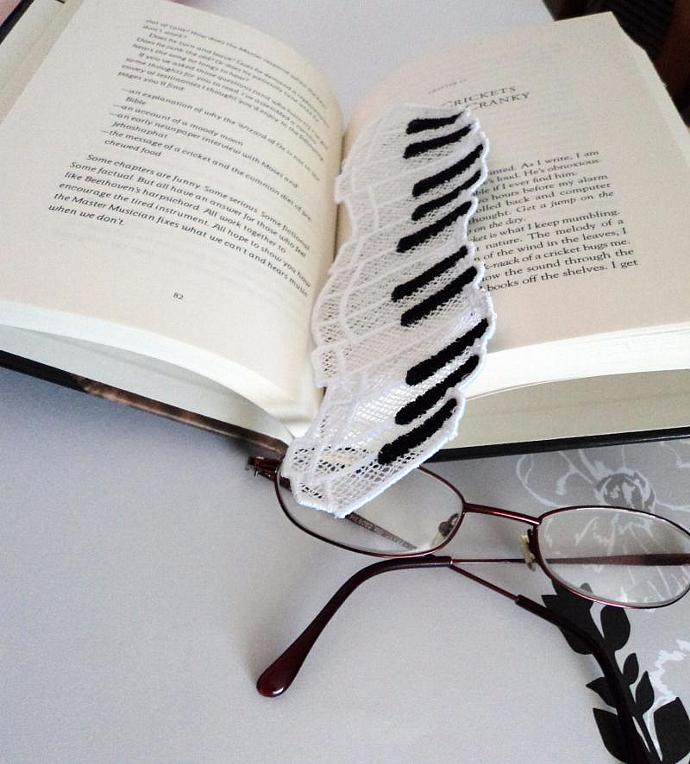 Bookmark- Lace Piano Keys for the one who loves music