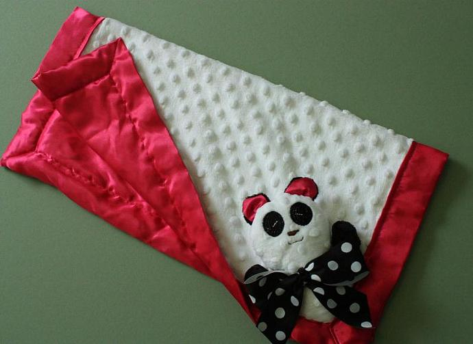 Panda Bear Lovey Blanket, Satin, Baby Blanket, Stuffed Animal, Baby Toy -