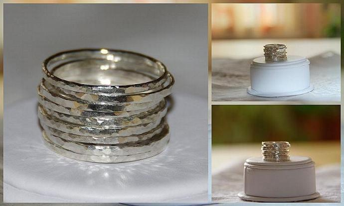 SET OF 9 handmade hammered sterling silver stackable rings, sizes 5, 6, 7, 8, 9,