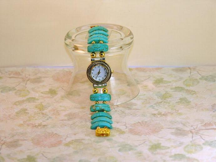 Watch with Turquoise and Gold-Filled Rounds Beaded Bracelet