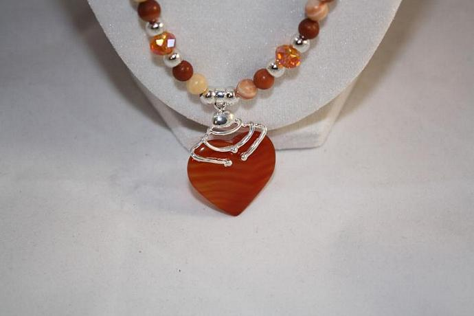 Orange/ Brown Hearts - Handmade Necklace '& Earrings