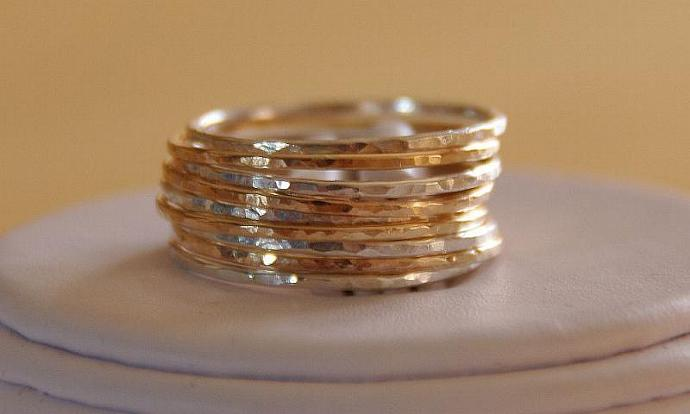 SET OF 9 14K GOLD FILLED AND STERLING SILVER STACK/STACKABLE/STACKING RINGS